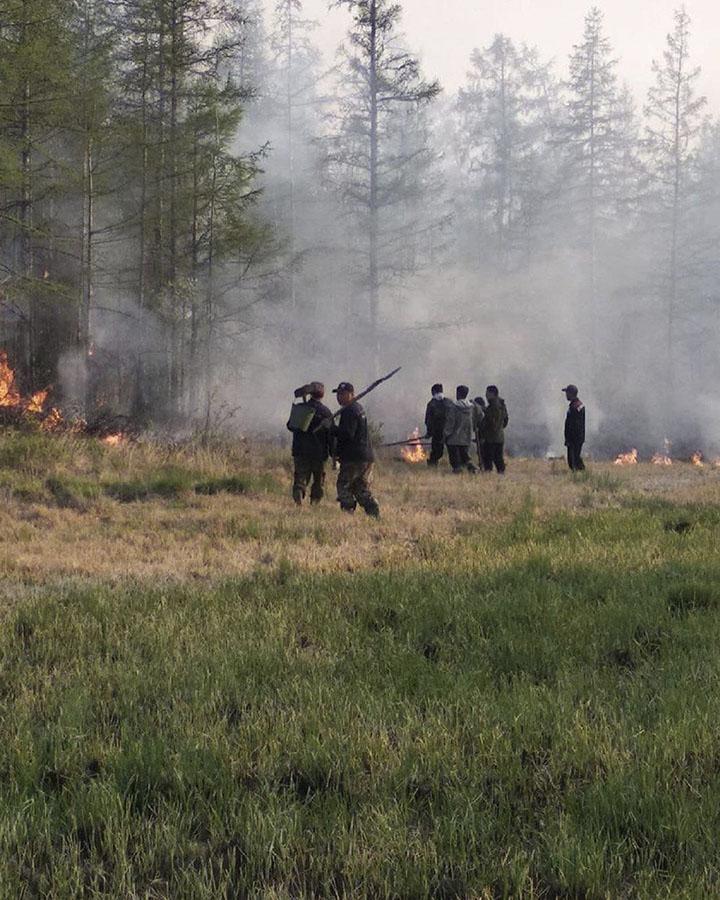 Volunteer firefighters at work